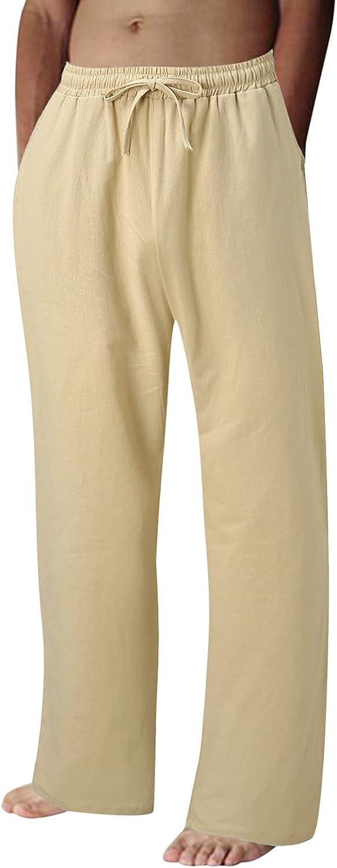 Huangse Men's Cotton Linen Yoga Sweatpants Athletic Lounge Pants Open Bottom Casual Jersey Wide Leg Pants with Pockets