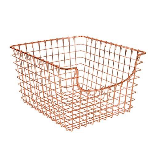 Spectrum Diversified Scoop Wire Basket, Vintage-Inspired Steel Storage Solution for Kitchen, Pantry, Closet, Bathroom, Craft Room & Garage, Medium, Copper