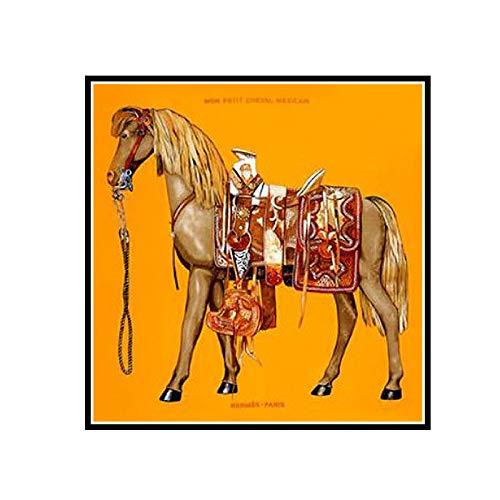 PDFKE Carteles e Impresiones de Animales, Pintura en Lienzo de Caballo Azul y Naranja, Cuadros de Pared para Sala de Estar, Cuadros, decoración del hogar, 50X70Cm, sin Marco, 1 Uds.