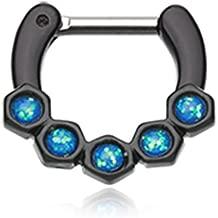 WildKlass Jewelry Purple Septum Clicker 14g 1//4 6mm Light Blue Opal Hexa Gemina Septum Ring