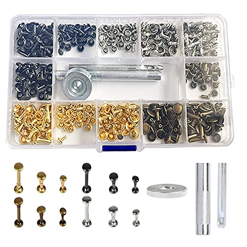 180 Conjuntos de Remaches de Cuero, 3 Tamaños 6mm 8mm 12mm Doble Tapa Remache, Remaches Tubulares de Metal con 3 Montaje Juego de Herramientas para Cuero Reparación de Remaches de Repuesto 4 C