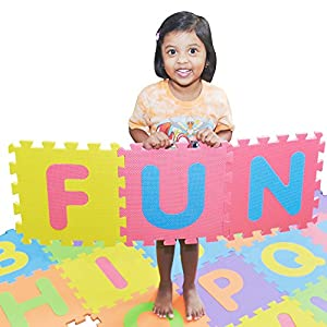 SAFEST Non Toxic Alphabet Puzzle Mat - THICKEST ABC Flooring Mat, 26 Tiles | Bonus Fun Learning eBook | Kids Learn & Play with Interlocking Puzzle Pieces