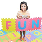 SAFEST Non Toxic Alphabet Puzzle Mat | THICKEST ABC + Numbers 0 to 9 Flooring Mat | Bonus Fun Learning eBook | Reusable Carry Bag | Kids Learn & Play with Interlocking Puzzle Pieces | Eva Foam