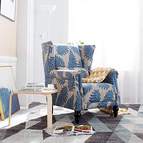 Romayard Accent Chair Stripe Pattern Living Room Chair Mid-Century Modern Fabric Upholstered Wooden Armchair, with Pillow