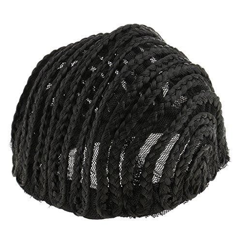 MagiDeal Bonnet Tressé Mode Afro Perruque pour Fabrication de Perruque Réglable Tressé Bonnet Dentelle Tissage Postiche - Noir, L