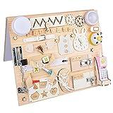 Tabla para niños pequeños ocupados de 1 año - Tabla Montessori - Cerraduras - Cubo Ocupado - Tabla de Actividades - Juguetes de Pared - Juguetes de Viaje - Tabla de Madera para guarderías ocupadas
