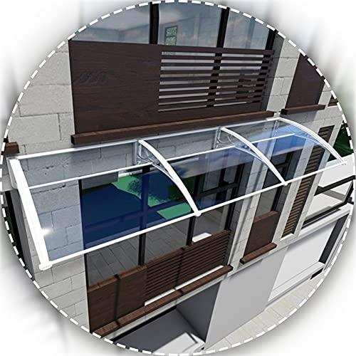 Marquesina Puertas Exterior, 2,5mm Resistente Al Fuego Funda Impermeable Silenciosa con Soporte Blanco, Profundidad 60cm / 80cm / 100cm (Size : 100x200cm)