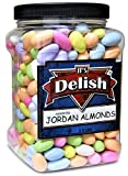 Assorted Jordan Almonds by Its Delish, 3.5 lbs Jumbo Container   Pastel Colors Bulk Wedding Favors   Almond Nut with Sweet Hard Candy Coating   Vegan and Kosher
