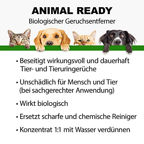 BactoDes Animal Ready – Eliminador de olores y manchas, spray listo para usar, limpiador enzimático contra orina de gato, orina de perro, olores de animales, 1 litro