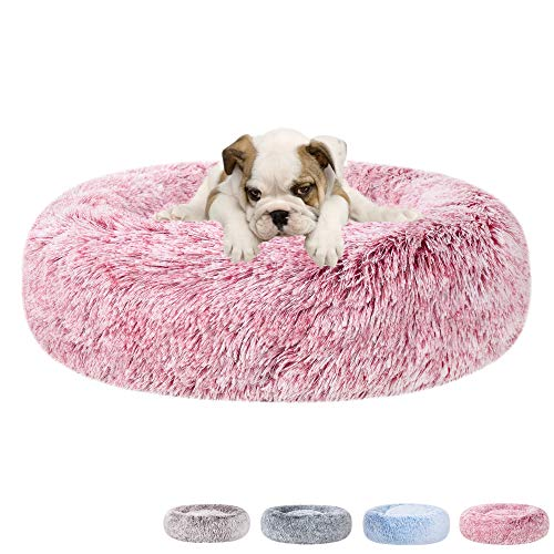 """Poohoo Calming Faux Fur Donut Cuddler Dog Bed,Washable Round Cat Bed Pillow Cuddler Gradient Color(23""""/30"""") for Small Medium Dogs (M 23"""", Pink)"""