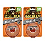 Gorilla Tough & Clear Double Sided Mounting Tape, 1' x 60', Clear, (Pack of 2) - 6065016