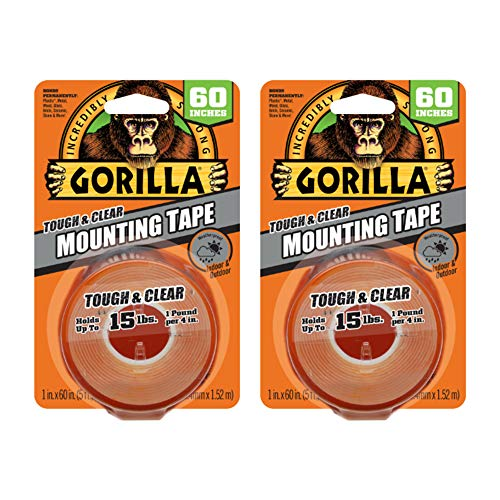 Gorilla 2 Pack Tough & Clear Double Sided Mounting Tape