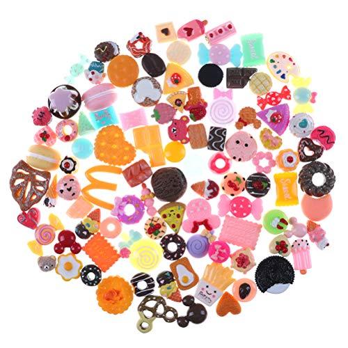 RUIYELE 20 piezas de accesorios de alimentos para tartas en miniatura para decoración de teléfono, color aleatorio