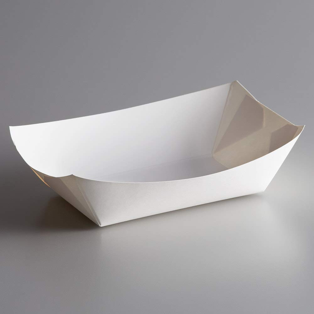 Paper Food Boats Trays - 1 Pound Capacity Oil Proof Easy to Handle (White, 25)