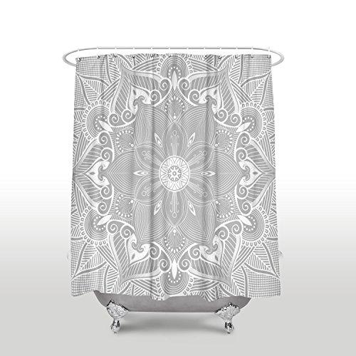 SUN-Shine Duschvorhang, Mandala-Blumendruck, wasserfest, mit Haken, Set 48x72IN grau