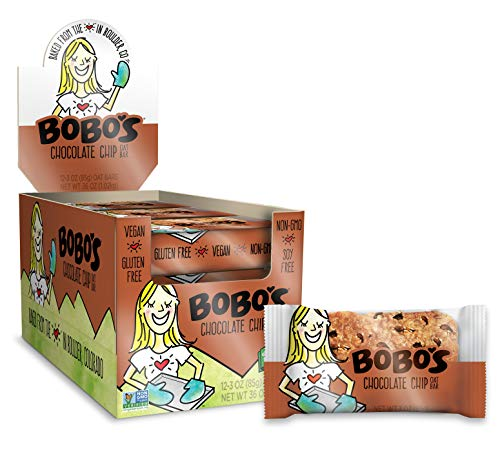 Bobo's Oat Bars (Chocolate Chip, 12 Pack of 3 oz Bars) Gluten Free Whole Grain Rolled Oat Bars - Great Tasting Vegan On-The-Go Oatmeal Snack, Made in the USA