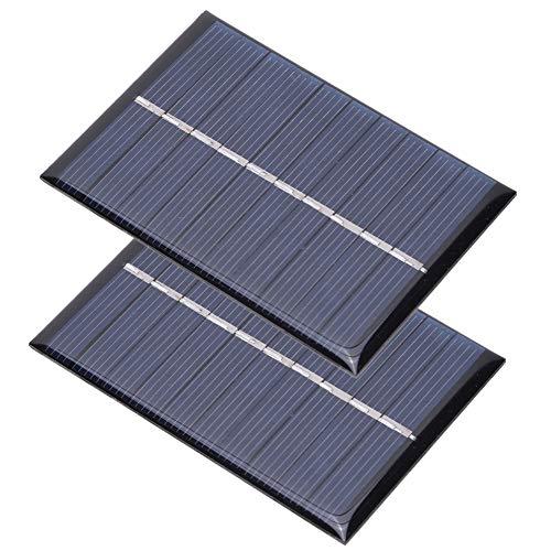 Keenso 2 Pezzi Pannello Solare, 0,6 W 5 V Pannello Solare in polisilicio Caricabatterie Caricatore Scheda di Alimentazione per Piccoli elettrodomestici Kit Pannello Solare 80x55mm