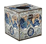 Bellaa 28281 Old World Map Tissue Box Cover Square Tissue Holder Pumping Paper Facial Napkin Case Dispenser