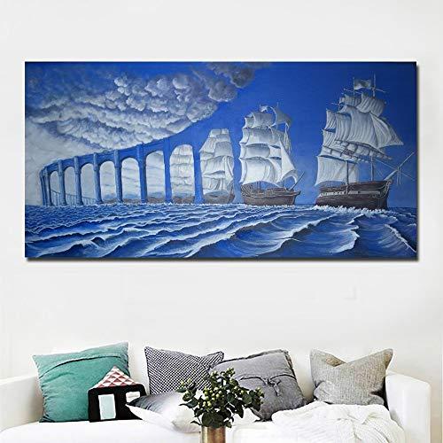 suhang Abstrakte Kunst Surrealismus Gemälde Blaue Brücke Und Meer Malerei Gedruckt Auf Leinwand Wandkunst Drucken Poster Home Decor