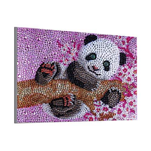 LPRTALK: 5D-DIY-Diamantgemälde-Bastelset, mit runden Kristallen und einem Bohrer mit spezieller Form, Set für Mosaik-Herstellung, Kunsthandwerk für Wanddekoration panda
