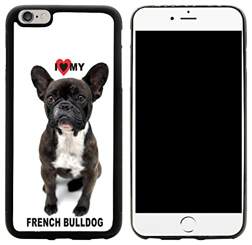 Rikki Knight I Love My French Bulldog Black and White Design iPhone 6/6s Plus Hybrid Case Cover, Black