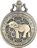 3D Lindo Nariz Larga Elefante Figura Retro Bronce Hueco Collar Cuarzo Reloj de Bolsillo Moda Colgante Relojes para Hombres Mujeres niños Reloj de Bolsillo Regalos para la Familia