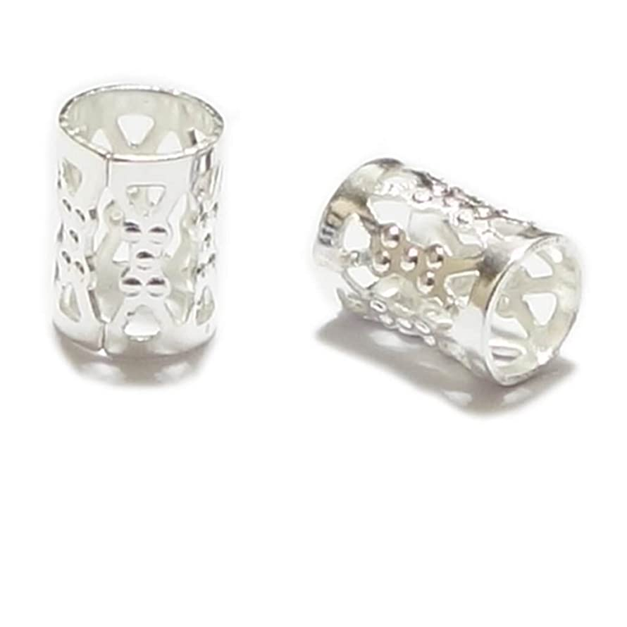 50pcs Top Quality 8mm Silver Plated Filigree Pattern Tubes Large Hole Spacer Beads (Hole ~4.9mm) CF106-S