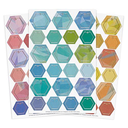 Erin Condren Metallic Hexagon Sticker Pack Trio Dekorative, funktionale und niedliche Aufkleber zum Personalisieren von Planern, Notizbüchern und mehr. Verschiedene Farben