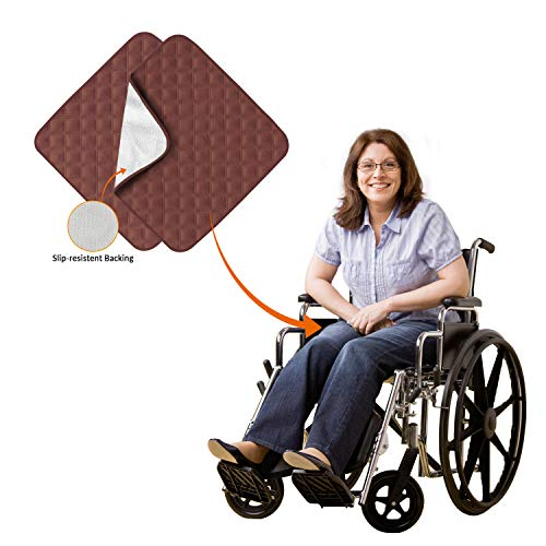 2 Pcs Ultra Non-Slip Washable Incontinence Pad underpad Seat Sofa Absorbent Pads Protection - for Seniors, Adult, Children, or Pet Underpad Protection (Brown)