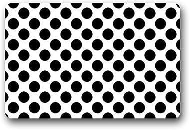 Top Fabric & Non-Slip Rubber Indoor/Outdoor Doormat Door Mats - Black and White Polka Dot Pattern Floor Mat Rug for Home/