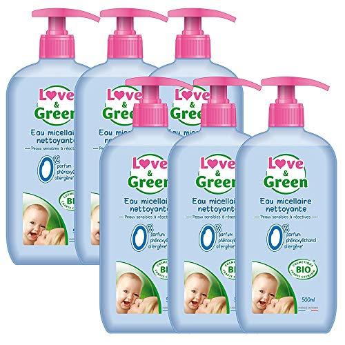 Love & Green Eau Micellaire Nettoyante Bio 0% 500 ml - Lot de 6