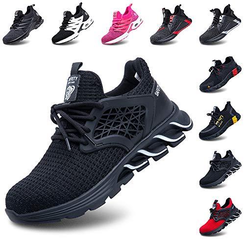 Zapatos De Seguridad Hombres Zapatillas De Trabajo con Punta De Acero S3 Calzado Mujeres Reflectante Cómodo ESD Botas Construcción Industria SRC Negro 43