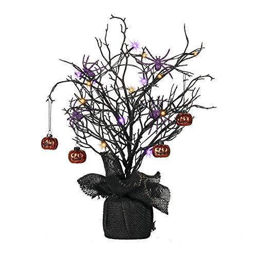 Valery Madelyn Albero di Halloween di 50 cm con zucche di Halloween e Ornamenti di Ragno per Decorazioni per Feste di Halloween, 17 luci a LED alimentate a Batteria