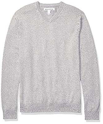 Amazon Essentials Men's V-Neck Sweater, Grey Marled Large by Amazon Essentials