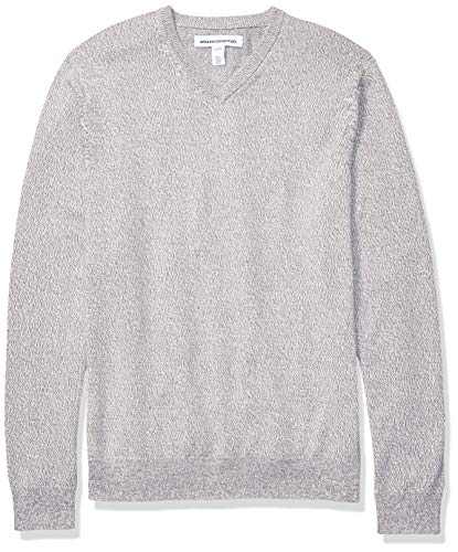 Amazon Essentials Men's V-Neck Sweater, Grey Marled Large