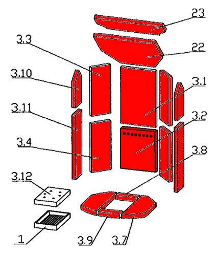 Feuerraumauskleidung C für Oranier Polar 8 Kaminöfen - Vermiculite - 16-teilig