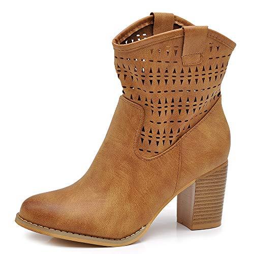 IF Fashion Scarpe Stivali Stivaletti alla Caviglia Camperos Texani Tacco da Donna 633 Camel N.39