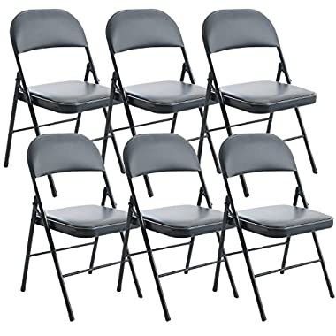 Handi-Craft Heavy Duty Black Folding Chair w/Padded Seat, Steel, 6 Piece