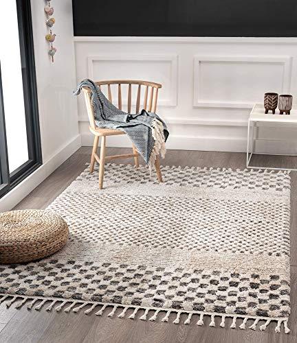 Vera Super Weicher Wohnzimmer Teppich, Handmade-Look, Fransen, 3D Effekt, Kariertes Muster, Hochflor 30 mm, 80x150 cm