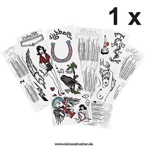 1 x ensemble de tatouage complet Amy Winehouse - 13 motifs sur 4 cartes - Cosplay Carnival (1)