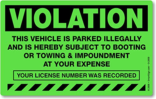 """MyParkingPermit Violation Vehicle is Parked Illegally and is Hereby Subject to Booting, Fluorescent Stickers, 50 Stickers/Pack, 8"""" x 5"""""""