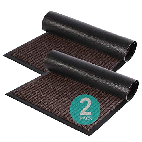 """Zuci 2-Pack Striped Door Floor Mat - Indoor Outdoor Rug Entryway Welcome Mats with Rubber Backing for Shoe Scraper, Ideal for Inside Outside High Traffic Area, Black and Brown 29"""" x 17"""""""