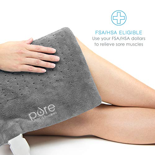 Pure Enrichment PureRelief XL King Size Heating Pad with Storage Bag (Charcoal Gray)