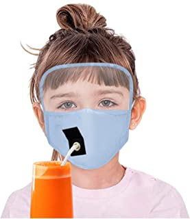 Kids Boys Girls Protect Dustproof Eyes Shield Drinking Mask with Hole for Straw