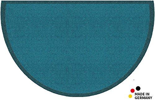 matches21 Fußmatte Fußabstreifer schmutzabsorbierend Schmutzfangmatte Uni einfarbig 50x80 cm halbrund waschbar/viele Farben wählbar/Türkis