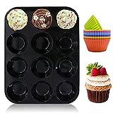Muffinform Silikon, Muffinblech aus Silikon für 12 Muffins, mit 12 Stück Muffinförmchen für Cupcakes, Pudding, Muffins - Schwarz