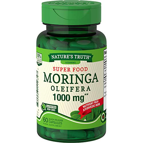 Nature's Truth Moringa Capsules 1000mg   60 Count   Complete Green Superfood   from Moringa Oleifera Leaf Powder   Non-GMO, Gluten Free