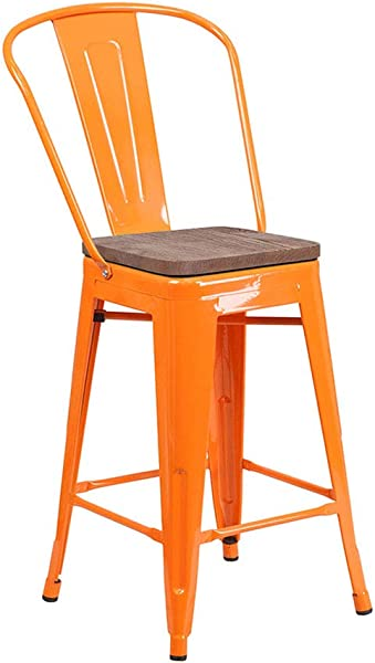 Flash Furniture 24 In High Metal Counter Height Stool In Orange