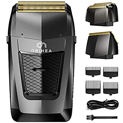 OriHea Foil Shavers for Men, Electric Razor Bald Head shavers Hair Clippers 2 in 1 Aluminum Foil Metal Cordless Shaving Kit, Independent Precision Clipper Barber, Super Waterproof, USB Rechargeable