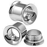 bodyjewellery 2pcs Internally Threaded Double Flare Ear Gauge Flesh Tunnels Crystal Plug Surgical Steel Stretcher Expander - 00g (10mm)